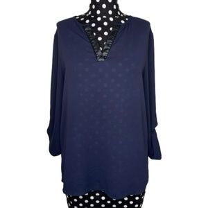 41 Hawthorne Sheer Navy Tunic Top Size Small